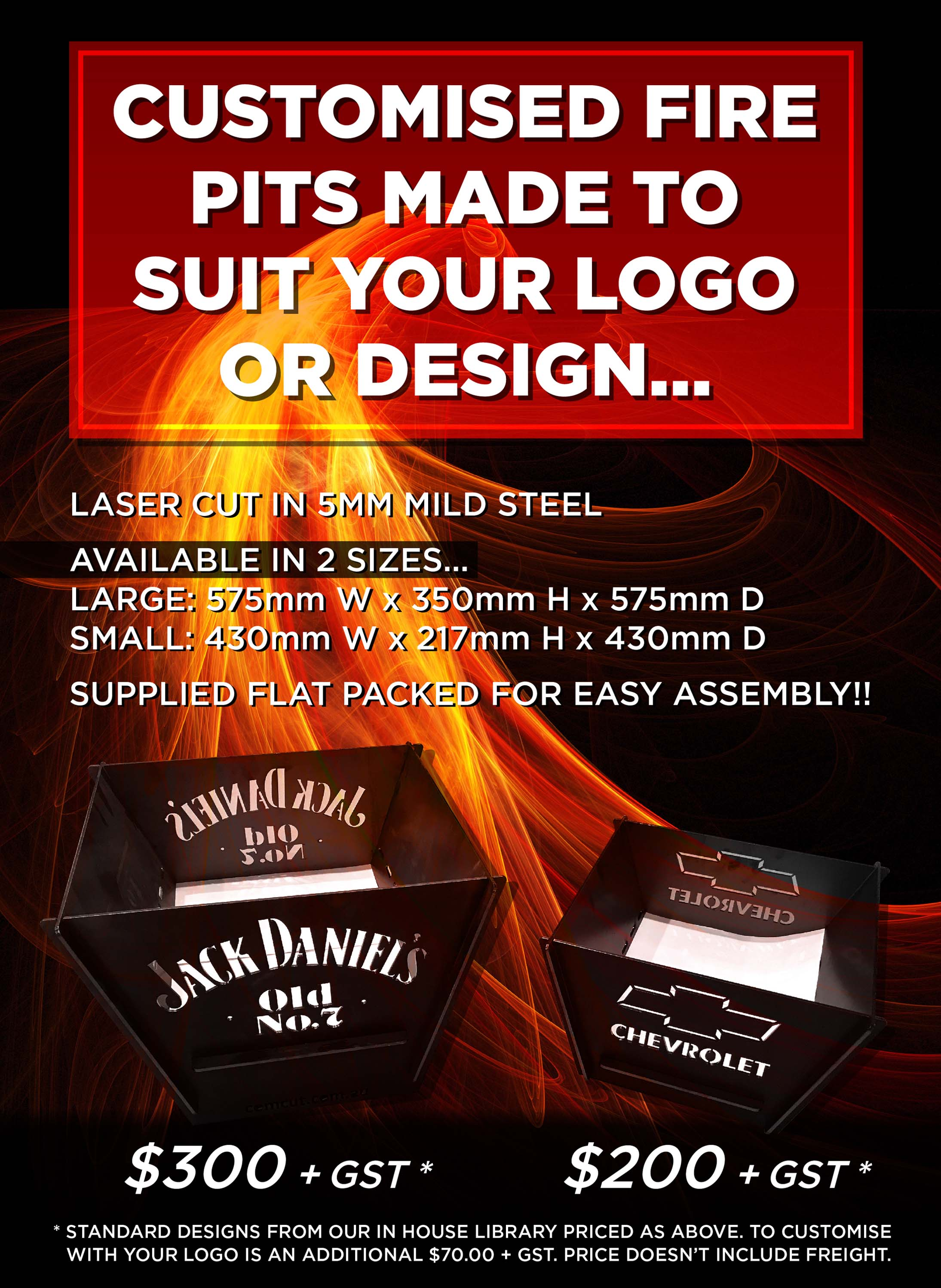 Customised Fire Pits with your logo